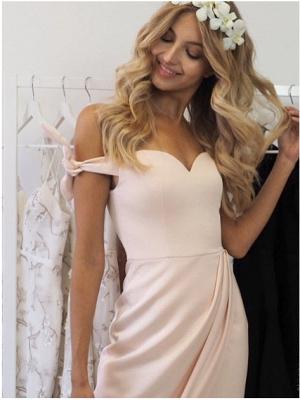 Silk-like Bow Pink Satin Off-the-shoulder Tea-length Prom Dresses_4