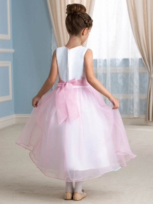 Cute A-Line Organza Jewel Tea-Length Flower Girl Dress_3