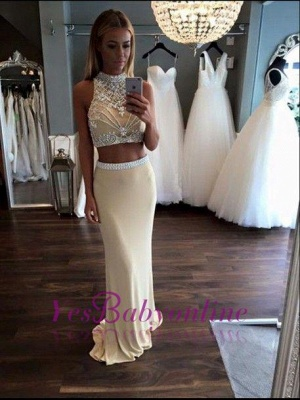 2019 Two-Piece Sheath Prom Dresses Sleeveless Crystals Formal Dresses_1