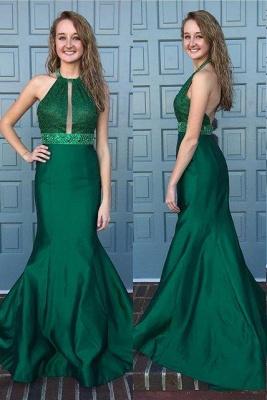Mermaid Dark Green Prom Dresses 2019 Halter Neck Beading Backless Long Evening Gowns_2