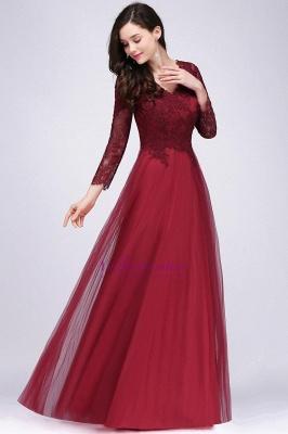 Long-Sleeves A-line Burgundy V-Neck Floor-Length Prom Dresses_5