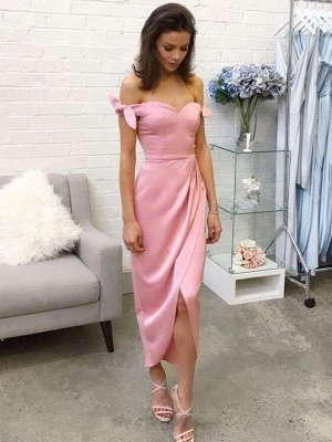 Silk-like Bow Pink Satin Off-the-shoulder Tea-length Prom Dresses_2