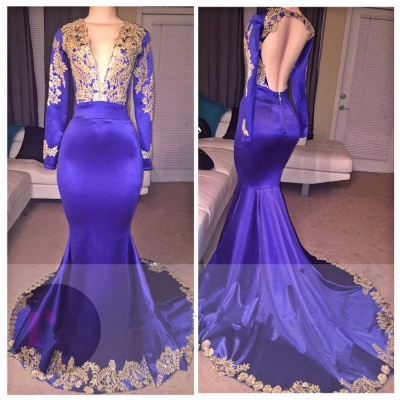 Appliques Deep-V-Neck Long-Sleeves Appliques Sexy Prom Dress_3
