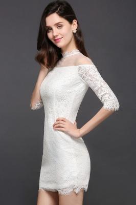 Lace Ivory Short Gorgeous Half Sleeve-Sheath High-Neck Evening Dresses_4