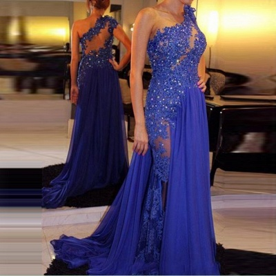 Sexy  Evening Dress   One-Shoulder Appliques Beading Prom Dresses_3