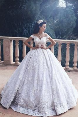 Luxurious Appliques Lace Princess Princess Off-The-Shoulder Wedding Dress_2