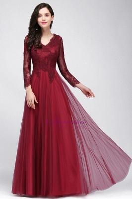 Long-Sleeves A-line Burgundy V-Neck Floor-Length Prom Dresses_8