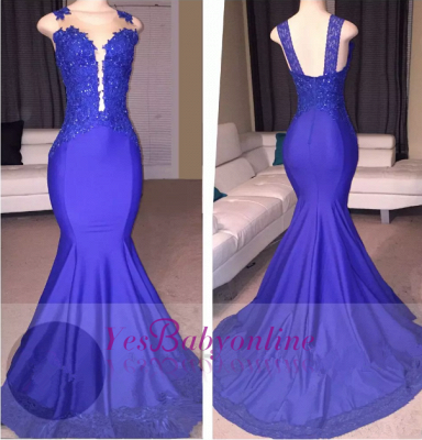 2019 Straps Blue Prom Dresses Lace Beading Mermaid Evening Gowns_1