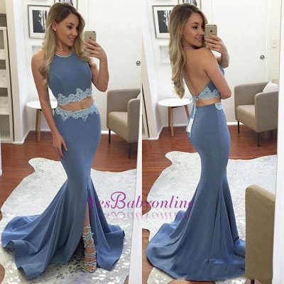 Mermaid Appliques Front-Split Backless Sexy Halter Two-Pieces Prom Dress_1
