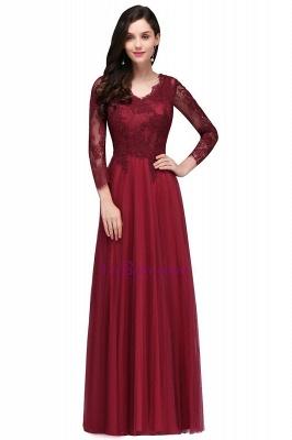 Long-Sleeves A-line Burgundy V-Neck Floor-Length Prom Dresses_4