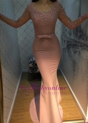 V-Neck Mermaid Long-Sleeve Long Lace Elegant Prom Dress_1