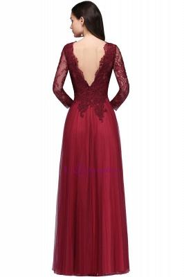 Long-Sleeves A-line Burgundy V-Neck Floor-Length Prom Dresses_6