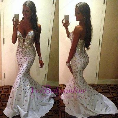 Crystals Zipper Sweep-Train Gorgeous Sweetheart Mermaid Sleeveless Prom Dress_1