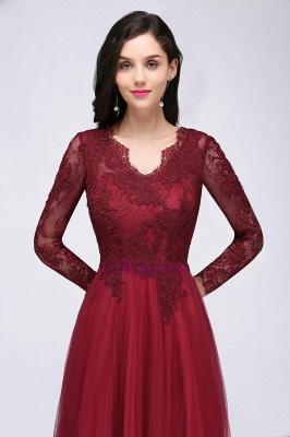 Long-Sleeves A-line Burgundy V-Neck Floor-Length Prom Dresses_7