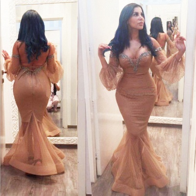 Backless Sequins Hot Off-the-Shoulder Plus-Size Mermiad Evening Gown_3