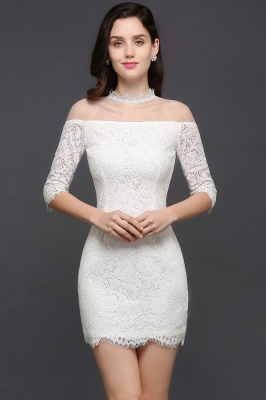 Lace Ivory Short Gorgeous Half Sleeve-Sheath High-Neck Evening Dresses_2