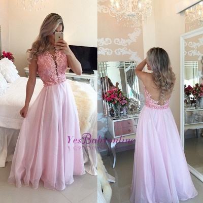 Crystal A-Line Sexy Appliques Sheer-Tulle Pink Prom Dresses_1