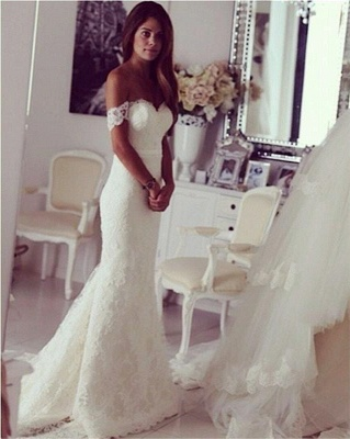 Stylish Sweep Train Lace Off-the-shoulder Mermaid Wedding Dress_3
