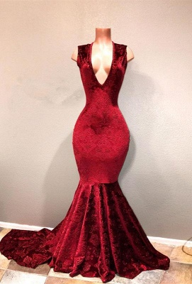 Sexy Burgundy Mermaid Prom Dresses | V-Neck Long Print Evening Gowns_1