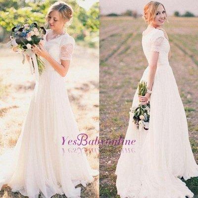 A-line Stylish Lace Popular V-neck Short-Sleeves Chiffon Wedding Dresses_1