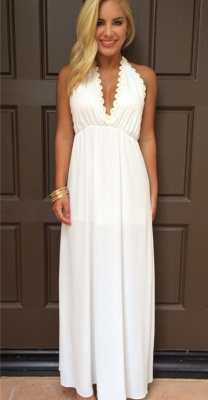 Attractive V-Neck White Backless Summer Halter Maxi Prom Dresses_3