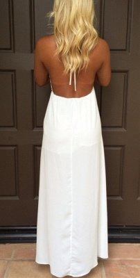 Attractive V-Neck White Backless Summer Halter Maxi Prom Dresses_4