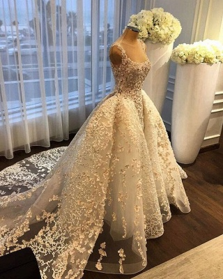 Charming Ball Gown Wedding Dresses | Straps Lace Appliques Bridal Gowns  with Overskirt_4