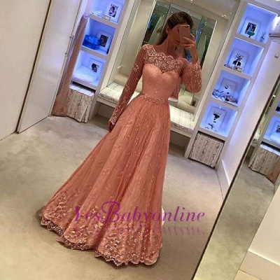 Appliques A-Line Lace Long-Sleeves Newest Prom Dress_1