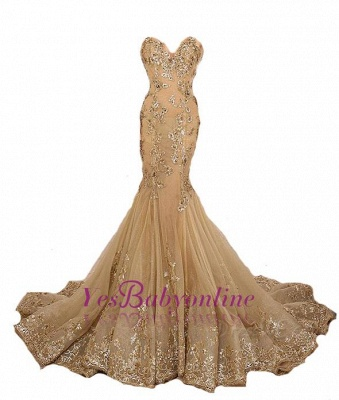 Long Sweetheart-Neck Lace-Appliques Gold Lace-Up Mermaid Prom Dresses_1