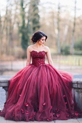 Glitter 3D-Floral Appliques Burgundy Ball-Gown Tulle Sweetheart Wedding Dresses_4