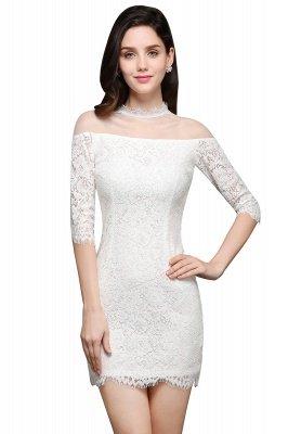 Lace Ivory Short Gorgeous Half Sleeve-Sheath High-Neck Evening Dresses_1