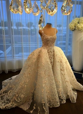 Charming Ball Gown Wedding Dresses | Straps Lace Appliques Bridal Gowns  with Overskirt_1