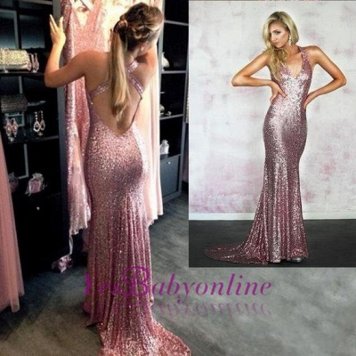 Rose-Pink Criss-Cross-Back Sexy Sequins Mermaid Prom Dresses_1