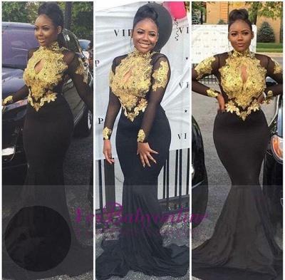 Gold-Appliques Elegant Long-Sleeves Backless High-Neck Prom Dresses_1