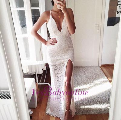 Front-Split Sexy Spaghetti-Strap Mermaid Lace Prom Dress_1