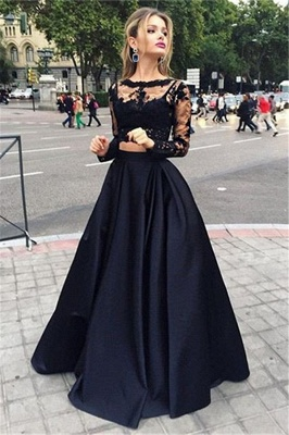 Two-Piece Black A-line Long-Sleeves Long Prom Dresses_2