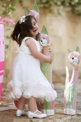 Stunning White Flowers Tea Length Flower Girl Dress   Sweet Tulle Bowknot Short Girl Dresses_2