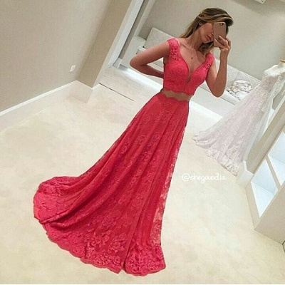 Sexy Mermaid Long Two-Piece V-Neck Sleeveless Red Lace Appliques Prom Dresses_3