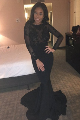 Lace Backless Mermaid Sheer Long-Sleeves Sexy Black Evening Gown_2