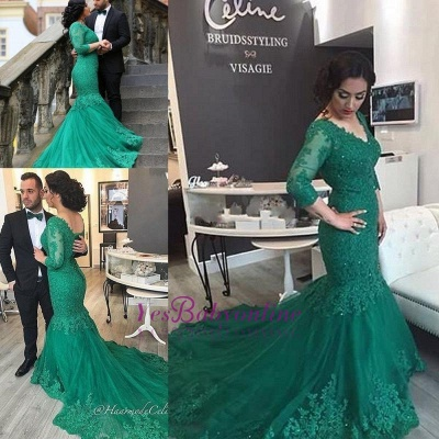 2019 Green Lace Evening Gowns Long Sleeves Beaded Mermaid Formal Dresses_3