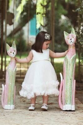 Stunning White Flowers Tea Length Flower Girl Dress   Sweet Tulle Bowknot Short Girl Dresses_1