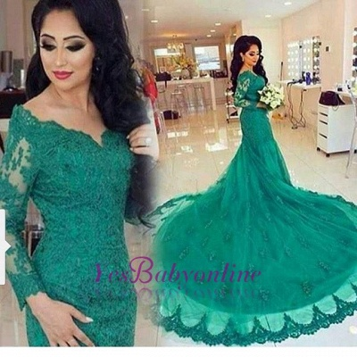 2019 Green Lace Evening Gowns Long Sleeves Beaded Mermaid Formal Dresses_4