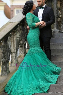 2019 Green Lace Evening Gowns Long Sleeves Beaded Mermaid Formal Dresses_1