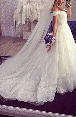 Tulle Ball-Gown Off-the-shoulder Lace ExquisiteTrain Wedding Dress_2