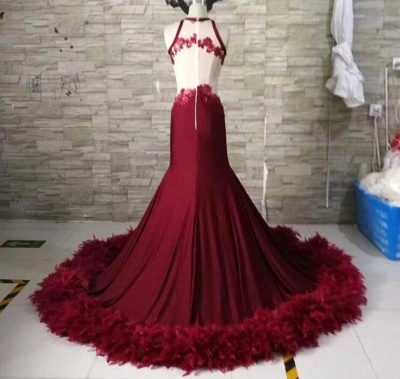 Luxury Royal Blue Prom Dresses   Sexy Feather Mermaid Evening Gowns_4