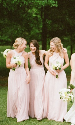 Halter Designer Cheap Pink Long Sheath Bridesmaid Dresses_2