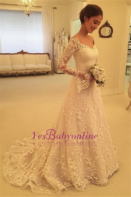 Buttons Long Sleevess Off-the-Shoulder A-Line Lace Appliques Wedding Dresses_1