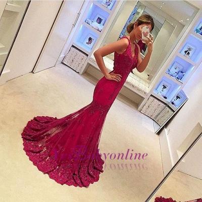 Sleeveless Glamorous Appliques Mermaid V-Neck Prom Dresses_1