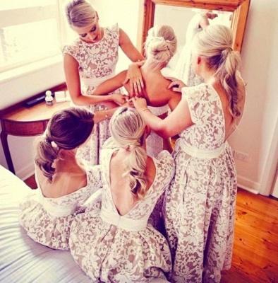 Lace Appliques Sleeveless Bridesmaid Dresses | A-line Long Wedding Party Dresses_4
