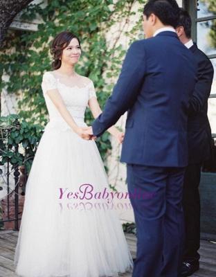 Short-Sleeve Tulle Zipper Floor-Length Princess Classic Lace Wedding Dress_1